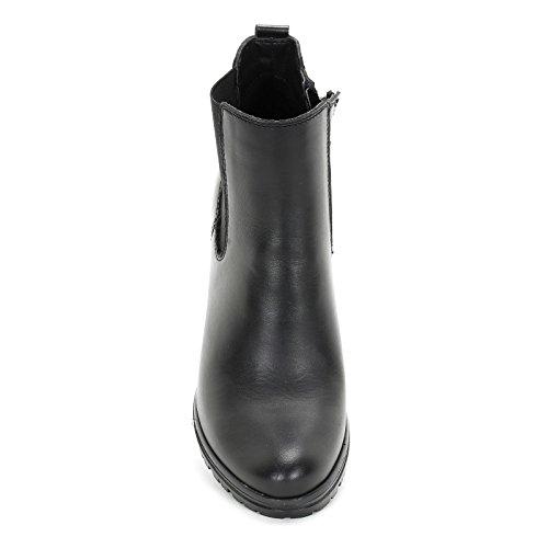 ALESYA by Scarpe&Scarpe - Stivaletti alti con elastico laterale, in Pelle, con Tacco 8 cm Nero