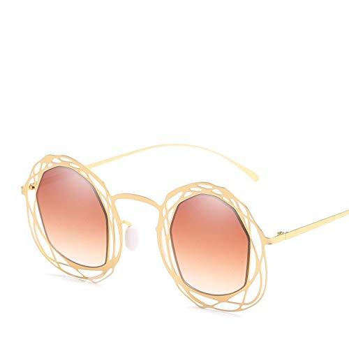 YUHANGH Mode Runde Sonnenbrille Persönlichkeit Hd Hohl Steampunk Sonnenbrille Vintage Metallrahmen