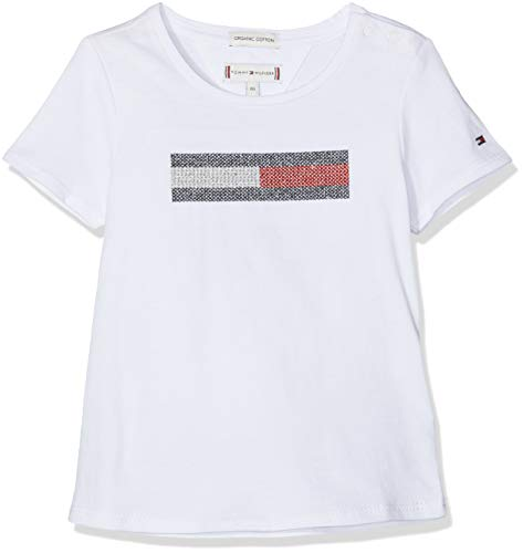 55805f059c Tommy Hilfiger Lurex Flag Embroidery Tee S/s T- T-Shirt, Blanc (Bright  White 123), 74 Bébé Fille