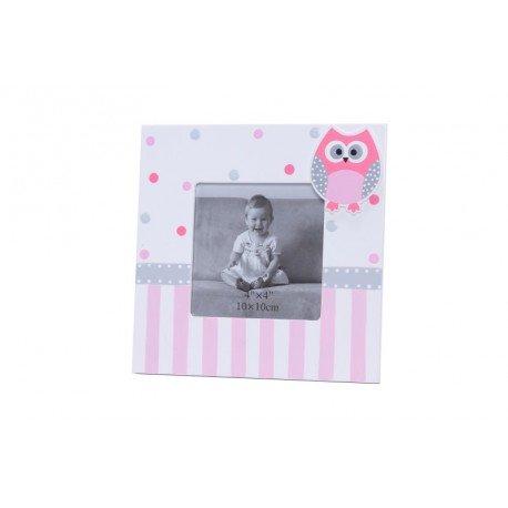 Lote 10 Portafotos Cuadrado Con Motivo Buhos Rosa - Portafotos Bautizo