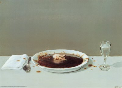 Pig in Soup Art Poster Print by Michael Sowa, 28x20 by Art.com