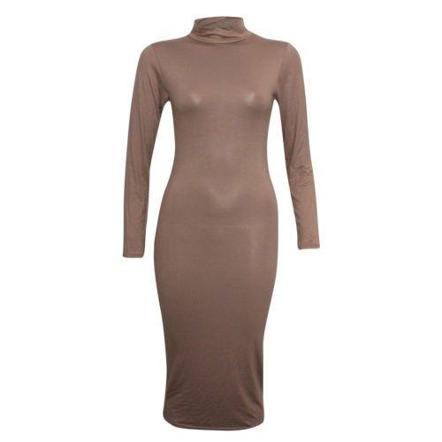 Fashion 4 moins Funky Boutique Haut à manches longues Col roulé Robe Midi Uni Marron - Moka