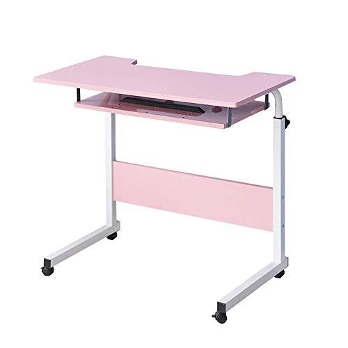 MXK Verstellbarer Rundtisch 80 cm Mobiler Laptop Computer Ständer Schreibtischwagen Ablage Beistelltisch Für Bett Sofa Krankenhaus Krankenpflege Lesen Essen (Color : Pink) -