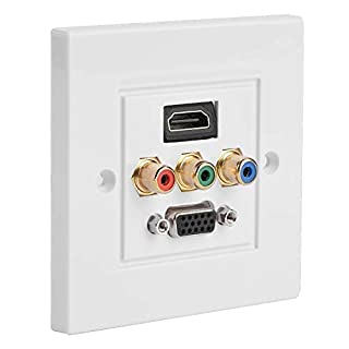 Vbestlife Distribution and Organization Multimedia Wall Plates Socket Panel, Composite HDMI VGA 3RCA USB Audio Video Adapter Jack Wiring Plug Outlet, Size 85 MM x 85 MM