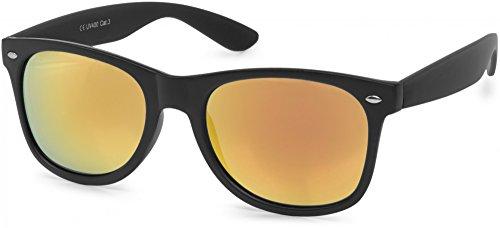 styleBREAKER verspiegelte Nerd Sonnenbrille, klassiches Retro Design, Unisex 09020039, Farbe:Gestell Schwarz glanz/Glas Orange-Rot