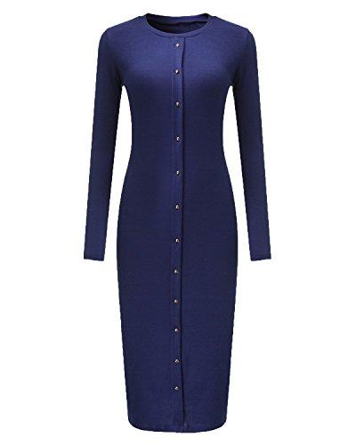 ZANZEA Femmes Sexy élégant Long Pull Tricoter Clubwear Enveloppé Cocktail Butons Crayon Robe Bleu foncé