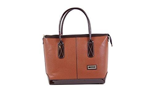 Tasche Damentasche Luxus Einfarbig Shopper Taymir 2 Jahre Garantie creme schwarz(Braun)