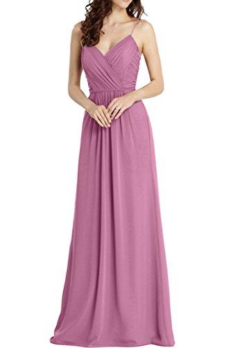 Promgirl House Damen 2016 Charmant Traeger A-Linie Chiffon Abendkleider Cocktail Ballkleider Lang Lilarosa