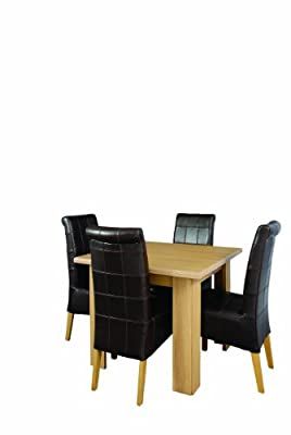 Caxton Square Dining Table + 4 Upholstered Back Chairs - Sherwood Range (Brown/Oak)