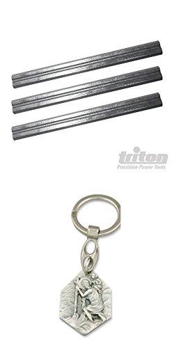 Triton Hobelmesser für 180-mm-Elektrohobel, 3er Pack, 180 mm, Ersatzmesser, Hobel, Säge (929977928758) mit Anhänger Hlg. Christophorus