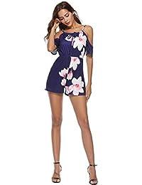 267c9059a53 Qiusa Pantalon Court Floral Combinaison Pantalon pour Dames Femmes , Summer  Beach Boho Culotte Sexy Bandeau
