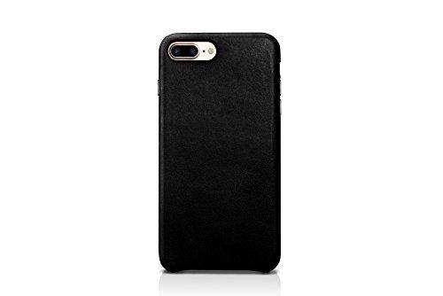 iPhone 8 iPhone 7 Backcover-Case, FUTLEX Retro Stil Case aus echtem Leder - Rot - Ultra Slim - Präziser Zuschnitt und Design - Handgefertigt Schwarz