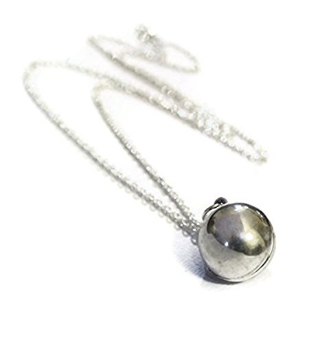 Silberkugel-Medaillon, Halskette, Modeschmuck-Anhänger, Lange Kette (Orb Pendant Necklace)