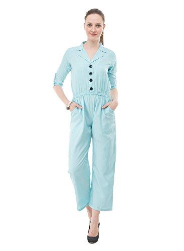 Karmic Vision Women's Crepe Blue Casual Jumpsuit