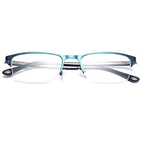 KOOSUFA Lesebrille Herren Damen Klassische Metallbügel Halbrandbrille Rechteckig Rahmen Vintage Lesehilfe Augenoptik 1.0x 1.5x 2.0x 2.5x 3.0x 3.5x 4.0x (3.0x, Blau)