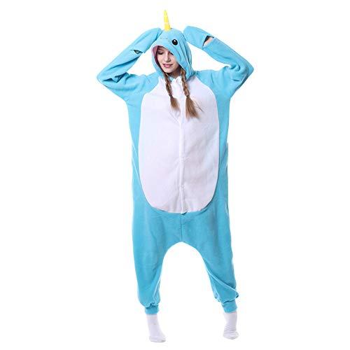 Narwal Kostüm - LSERVER Polar - vlies Cartoon Tier Einteilige Pyjamas Herbst und Winter Kostüme, Hellblauer Narwal, S(148-158cm)