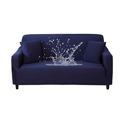 Hotniu 1-pezzo copridivano impermeabile elasticizzato fodera per divano jacquard in tessuto imbottito mobili antiscivolo sofa slipcover protettore, ideale per poltrone, divani (4 posti, marina)