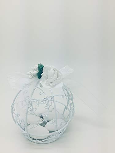 Ducomi bomboniere per comunione, matrimonio, battesimo, laurea e cresima in stile lusso vintage - set di 12 portaconfetti originali - cestino in latta fai da te in bianco, rosa per bambina e azzurro per bambino (white)
