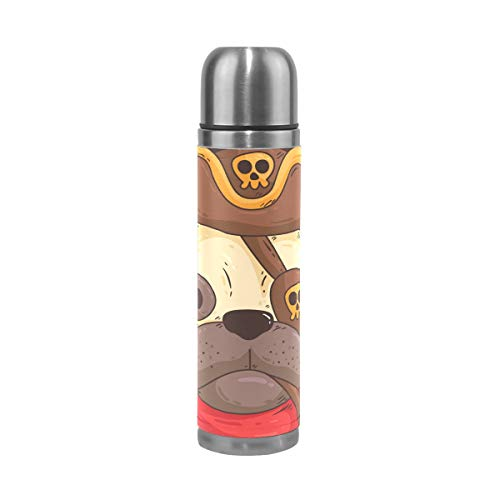 MUMIMI süßes Mops-Kostüm, Piraten-Druck, Vakuum-isoliert, Edelstahl-Wasserflasche, 450 ml, Sport-Kaffee-Thermoskanne, Thermosflasche aus echtem Leder, BPA-frei