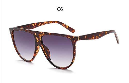 XIAOXINGXING Sonnenbrille Frau Vintage Retro-Flat-Top Thin Shadow Sonnenbrille Quadrat Pilot Designer Große Schwarze Schattierungen (Lenses Color : C6 Amber)