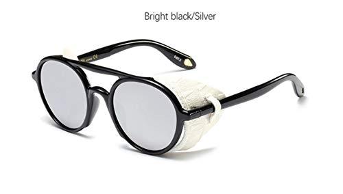 Cranky Orange Retro Round Steam Punk Sonnenbrille Damen Herren 2019 Vintage Flat Top Gothic Sonnenbrille ovale Herrenbrille modisch, Bright Black Silver