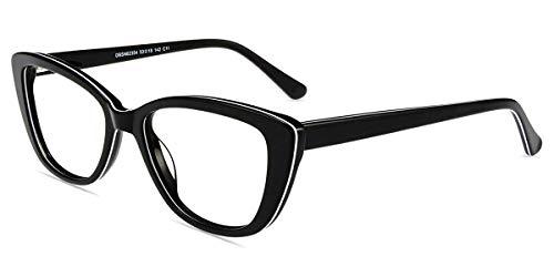 Zinff Damen Brille Retro Lesebrille in Katzenaugen Form mit Blaulichtfilter Gaming Brillen für Computer, Handy und Fernseher gegen Kopfschmerzen, Augenmüdigkeit (Schwarz+weiß)