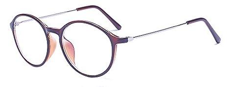 ALWAYSUV Unisex Rund PC Klare Linse TR90 Rahmen Fest Retro Nerd Mode Brille Brillenfassung
