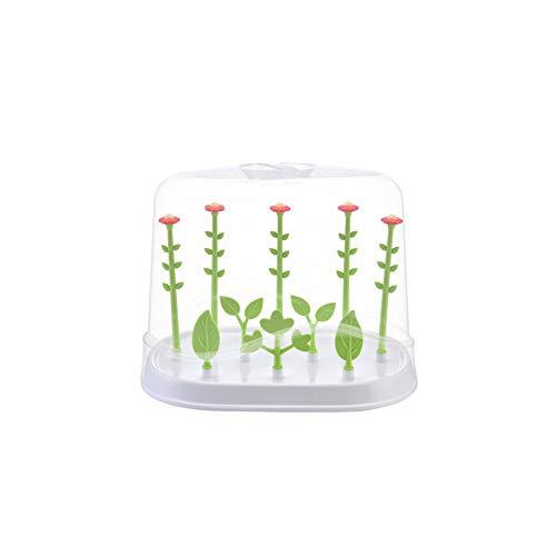 Babyflasche Wschetrockner Blumen-Form Nippel Trocknerrack Nippel Zubehör Flaschentrockner Halter Space Saver mit staubdichte Abdeckung Grün -
