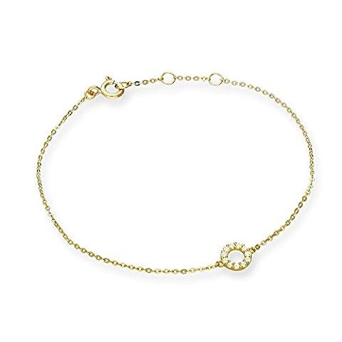 9ct Gold & Clear CZ Crystal 7 Inch Karma Circle Bracelet