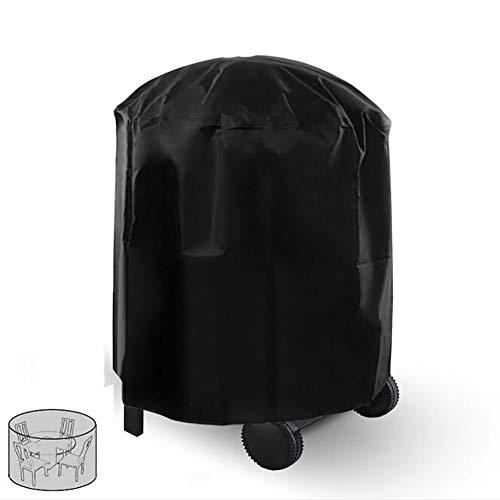 QWER Grillabdeckung für Gartenmöbel, Rattanmöbel, rund, für den Außenbereich, Garten, Regenschutz, Schwarz, 227x100CM