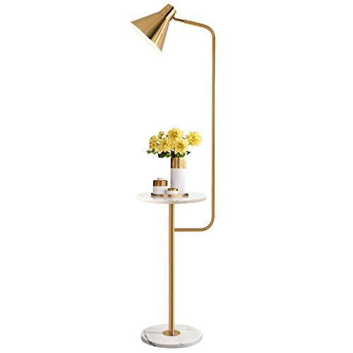Modernes Gold Wohnzimmer Schlafzimmer Arbeitszimmer Mit Stehenden Stehlampe,Mit Marmortisch Design, Lampenschirm Verstellbar, Hohe 146cm Standleuchten
