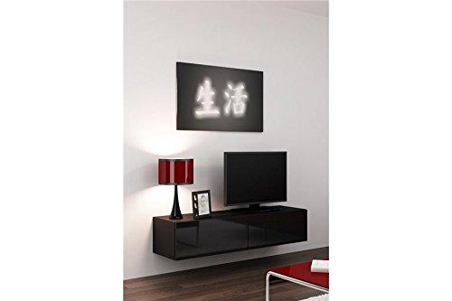 Meuble TV Design Suspendu Vito 140cm - Noir