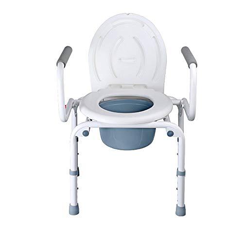 LXD Tragbare Nachttisch WC/Bad Stuhl/Toilettenstuhl/Toilettenstuhl Stahlrohr Leichte faltbare Anwendbar für ältere Menschen, Behinderte, Schwangere -