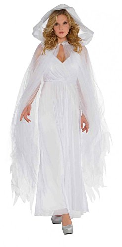 Tüll Umhang mit Kapuze Zubehör für Halloween-Kostüm Hexe Geist Zombie Engel Cape Mantel, Farbe:Weiß