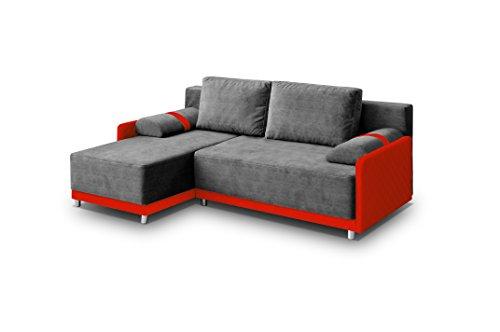 Ecksofa Sofa Eckcouch Couch mit Schlaffunktion und Bettkasten Ottomane L-Form Schlafsofa Bettsofa Polstergarnitur - INDIANA (Ecksofa Links, Grau)