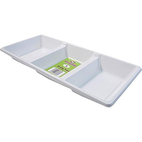 4 compartiments en plastique jetables Blanc/Plateau - 39 cm x 18 cm, idéal pour servir le Partage et goûters livraison gratuite