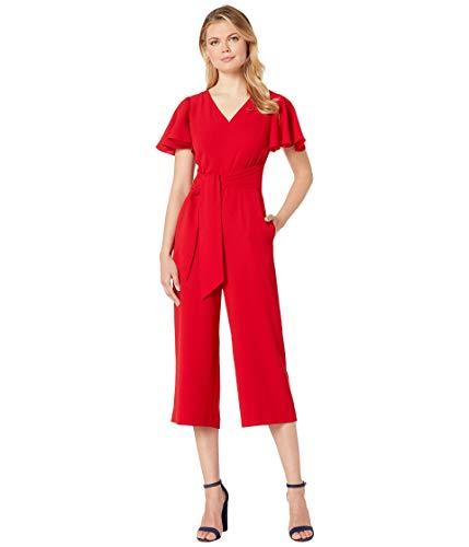 Tahari ASL womensTLMF9WR550Flutter Sleeve Tie Waist Jumpsuit Short Sleeve Dress