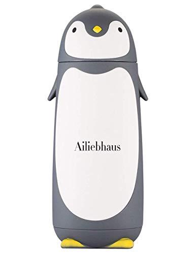 Ailiebhaus 304 Edelstahl-Thermosflasche Mini süße Penguin Isolierflasche ,für Kinder,Grau