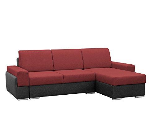 mb-moebel Kleine Ecksofa Sofa Eckcouch Couch mit Schlaffunktion und Zwei Bettkasten Ottomane L-Form Wohnlandschaft Bruno (Rot + Schwarz, Ecksofa Rechts)