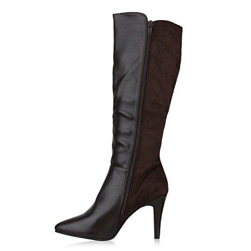Stiefelparadies Damen Schnürstiefel Plateau Retro Stiefel Leder-Optik Schleifen Schuhe Blockabsatz Plateauschuhe Plateaustiefel Flandell Dunkelbraun