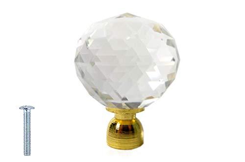 Türknauf mit Schraube, Kristallglas, 30 mm, transparent - 30mm - One Hole - Clear Crystal + Gold -