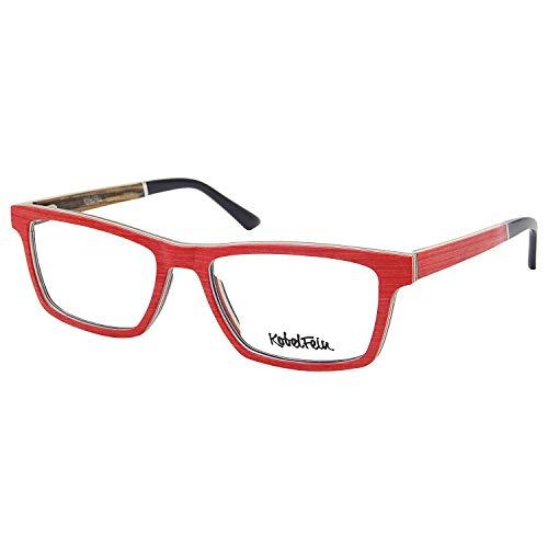 KobelFein. Brillengestelle Holz-Brille Herren Damen inkl. Brillenetui Bambus (Carol)