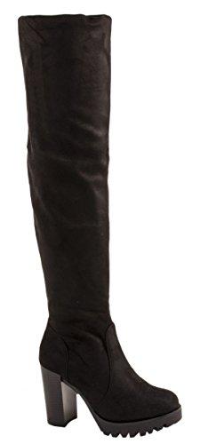 Botas de mujer de Elara, cómodas, por encima de la rodilla, de tacón alto, con plataforma, de piel salvaje, color Negro, talla 36 EU