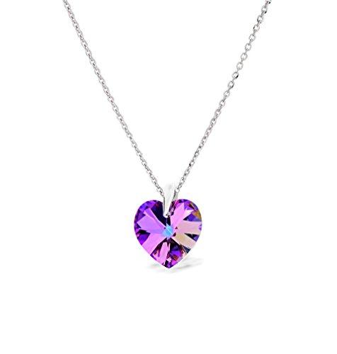 Ana Morales Pendentif pour femme avec cristaux Swarovski® exclusifs - Argent sterling 925 avec chaîne en argent de 47cm Rosa/Blau/Violett