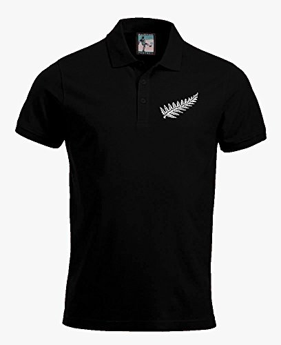 Retro New Zealand National Rugby Polo Bestickt Logo