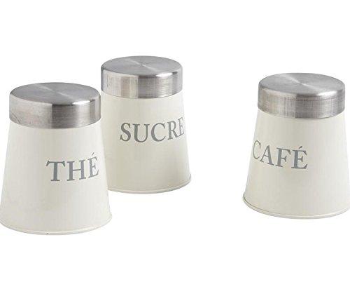 Lot de 3 pots en zinc thé sucre café gris