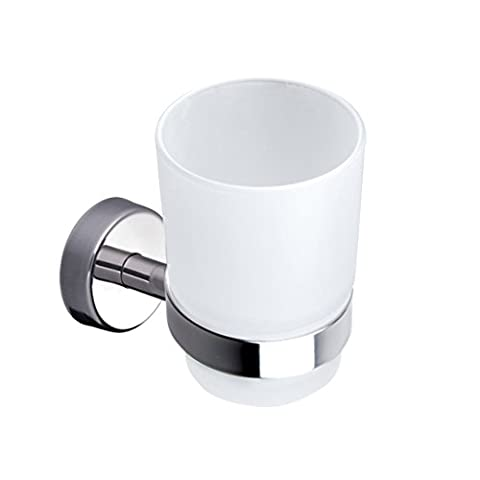 Kapitan Wall Mounted Toothbrush Holder, Self Adhesive Bathroom Tumbler, Frosted Glass and Stainless Steel AISI 304 18/10, Polished Finish, Made in EU, 20 Years Warranty