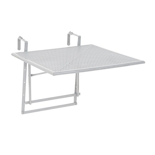 greemotion Table de Balcon Suspendue Rabattable 60 x 40 x 56 cm, Pliante, à Suspendre Réglable en Hauteur, en Acier Revêtu de Plastique Résistant aux Intempéries