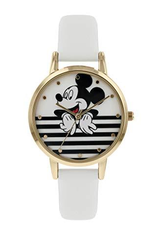 Mickey Mouse Reloj Analógico para Mujer de Cuarzo con Correa en Cuero MK5092