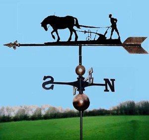 OriginalForgery Pferd & Schneepflug Wetterfahne handgefertigt sehr hohe Qualität